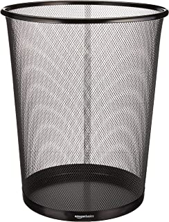 AmazonBasics Mesh Trash Can Wastebasket, Black, 6-Pack