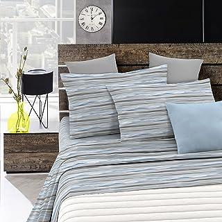 Italian Bed Linen Parure de lit « Emotion » Onde Bleu, 1 Place et Demi