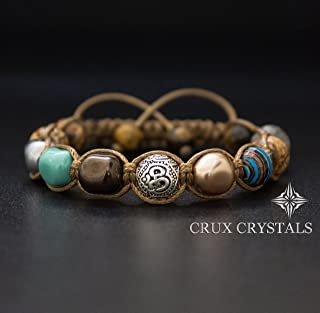 Limited Edition, Om Beaded Bracelet, Women's Gemstone Shamballa Bracelet, Swarovski Pearls, Wrap Bracelet, Namaste, Yoga Bracelet, Fall Jewelry, Crux Crystals