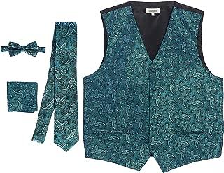 Men's Formal 4pc Paisley Vest Necktie Bowtie and Pocket Square