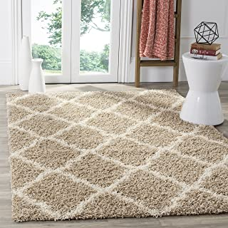 Safavieh Dallas Shag Collection SGD257D Beige and Ivory Area Rug (8'6