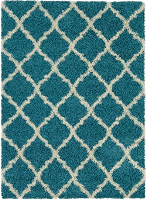Ottomanson Collection Trellis Shag Rug, 5' x 7', Turquoise
