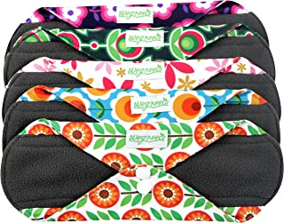 Wegreeco Bamboo Reusable Sanitary Pads - Cloth Sanitary Pads | Bladder Support & Incontinence Pads | Reusable Menstrual Pads - Pack of 5 (Large,Flower)