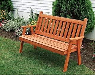 A&L Furniture Co. Western Red Cedar 4' Traditional English Garden Bench - Ships Free in 5-7 Business Days