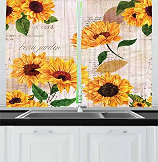 Lunarable Sunflower Kitchen Curtains, Romantic Flowers on Old Fashioned Letters Postcards Newspapers, Window Drapes 2 Panel Set for Kitchen Cafe Decor, 55