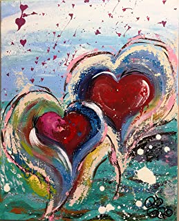 Suited Bliss Heart Collection | Abstract Original Canvas Painting | Beautiful Colorful Painting For Her, Valentine's, Wedding, Bridal Shower