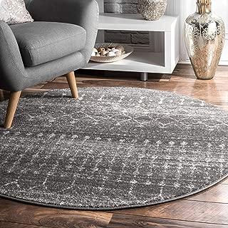 nuLOOM Moroccan Blythe Round Rug, 8' Round, Dark Grey