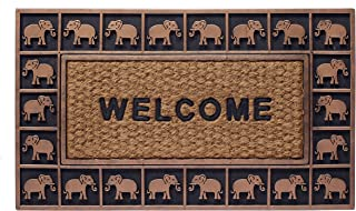 HF by LT Boho Market Rubber and Coir Flatweave Doormat, 18 x 30 inches, Durable, Sustainable, Antique Bronze Elephant Border Design, Brown, Black