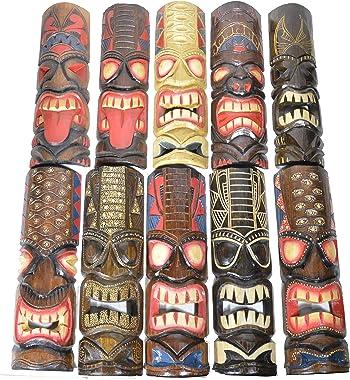 "Surprise Set 20"" Large Set of 5 Polynesian Hawaiian Tiki Style Wall Masks"