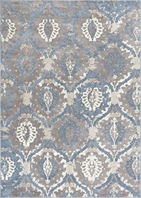 Well Woven PE-54-7 Pearl Felize Modern Distressed Ogee Ikat Blue Soft Area