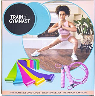 Train Like A Gymnast Kit | at-Home and Travel Workout Kit with Carrying Case | Sliders for Core Strength, Bands for Resistance Training, Jump Rope for Cardio Endurance
