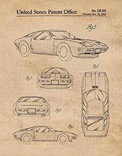 Original Corvette with Wankel Rotary Engine Patent Poster Prints, Set of 1 (11x14) Unframed Photo, Great Wall Art Decor Gifts Under 15 for Home, Office, College Student, Teacher, USA Cars & Coffee Fan