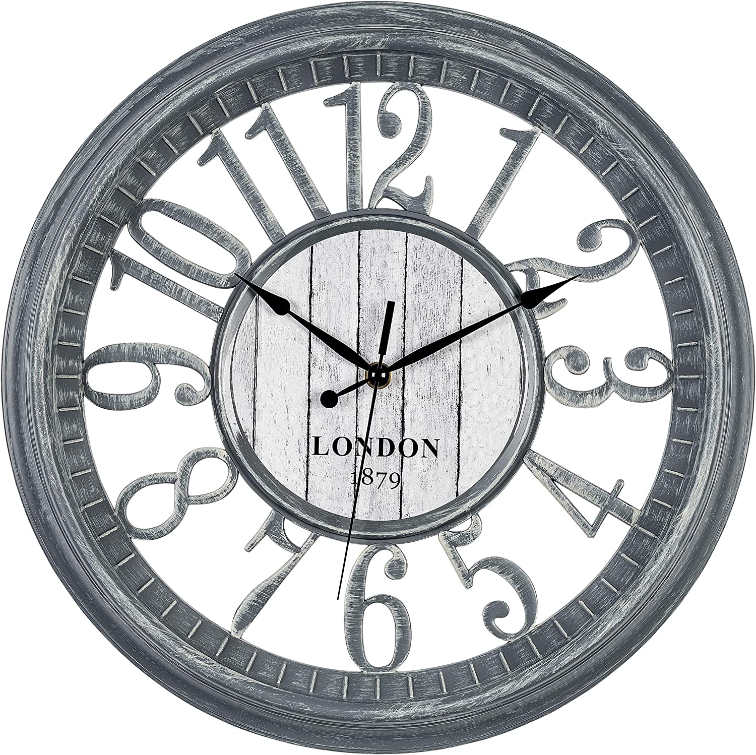 Bernhard Products Large Wall Clock 16 Inch Gray Noiseless Battery Operated Quality Quartz Rustic Farmhouse Shabby Chic Vintage Design For Kitchen Living Room Bedroom Decorative Stylish Clocks Amazon Co Uk Kitchen Home