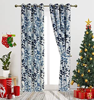 Blue Digital Print Leaves Fashion Design Curtains Contemporary Botanic Floral Style Blackout Curtain Panels for Living Roo...
