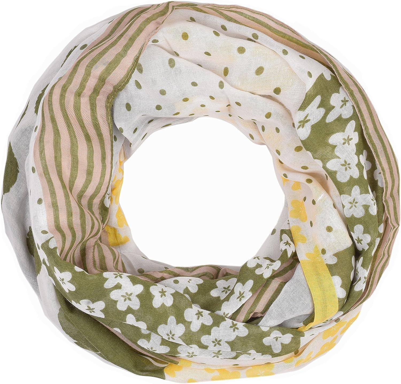 INTERMODA Blumen Punkte Loop Schal Damen Fr/ühling I Schlauchschal mit Bl/üten Linien Striche I edles Punkte Blumen Halstuch Damen