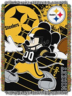 Officially Licensed NFL Co-Branded Disney's Mickey Mouse Woven Tapestry Throw Blanket, 48