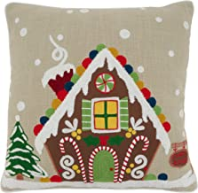 """Saro Lifestyle Ariadne Collection Gingerbread House Throw Pillow With Down Filling, 18"""", Natural"""