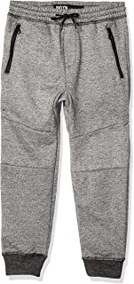 Boys' Big Fleece Jogger Pants Active Zipper Pocket Sweatpants, Black Marl, 5