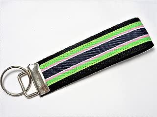 Preppy Stripe Ribbon Wristlet Key Fob Keychain Blue