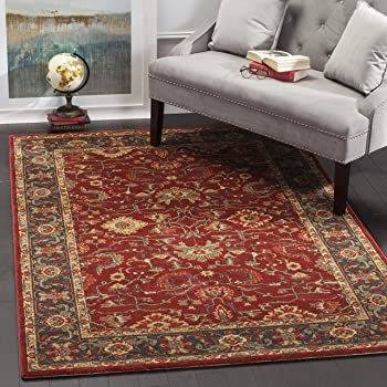 Safavieh Mahal Collection MAH693F Traditional Oriental Area Rug, 10' x 14', Red/Navy