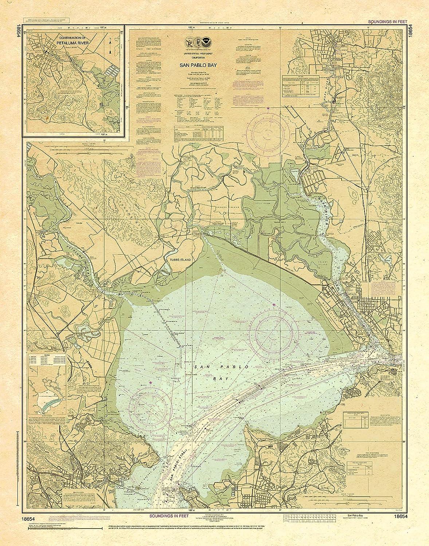 Paradise Cay Genuine Publications NOAA Rapid rise Chart Bay 18654: San Pablo