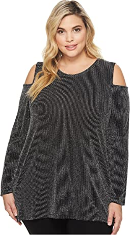 MICHAEL Michael Kors - Plus Size Sparkle Long Sleeve Cold Shoulder