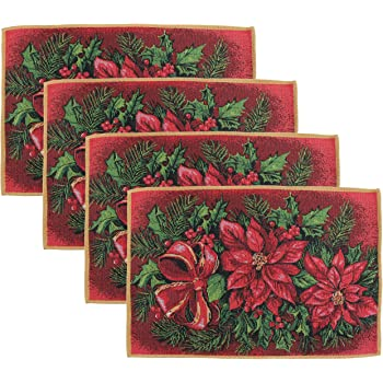 SET OF 4 VINTAGE CHIC RED CHRISTMAS POINSETTAS TAPESTRY TABLE LINEN PLACEMATS