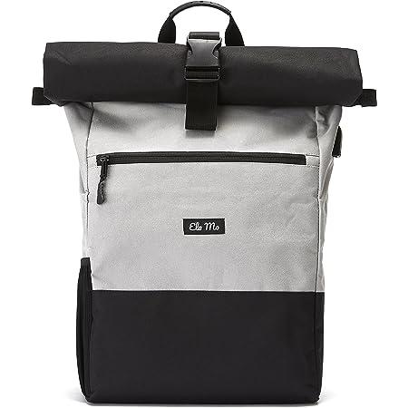 Ela Mo's Rucksack Damen Herren | Schön und Durchdacht | für Uni Reisen Freizeit Job | mit Laptopfach & Anti Diebstahl Tasche | Grau