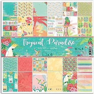 Toga Tropical Paradise Lot de 6 Feuilles Imprimées, Autre, Multicolore, 31 x 32 x 0.5 cm