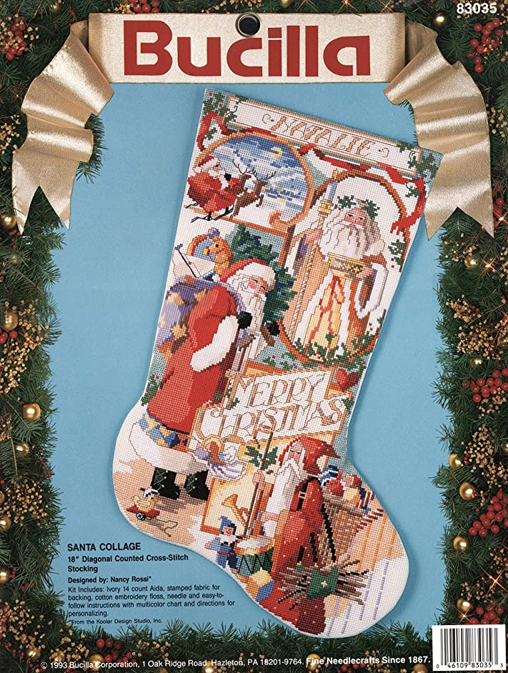 BUCILLA 1993 Santa Collage Christmas Stocking Counted Cross Stitch Embroidery KIT 18