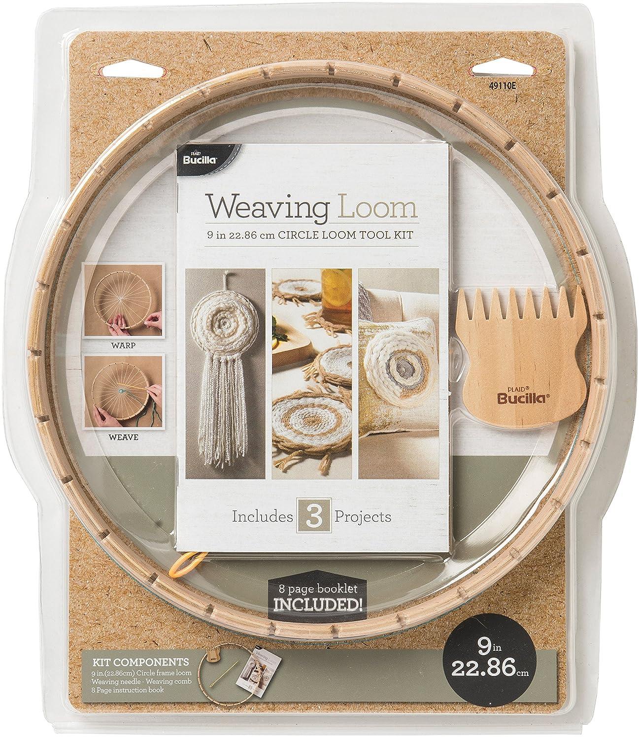 Bucilla 49110 Weaving Loom Kit, 9 in, Circle Loom Tool Kit