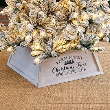 """Glitzhome 26"""" L Washed White Wooden Tree Collar, Rustic Trapezoid Tree Stand Cover Farm Fresh Christmas Tree Skirt Box"""