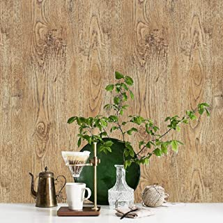Rustic Wood Peel and Stick Wallpaper Distressed Wood Shlef Liner Paper Reclaimed Wood Wallpaper Wood Look Wallpaper Decorative Self Adhesive Film Vinyl Shelf Drawer Liner Roll 17.7