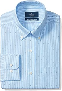 Amazon Brand - BUTTONED DOWN Men's Classic Fit Stripe Dress Shirt, Supima Cotton Non-Iron