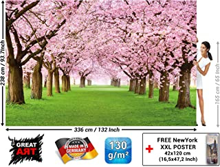 Wall Mural – Cherry Blossom Tree – Decorative Poster of Spring Nature Landscape Avenue Cherry Blossoms Sakura Bloom Flowers Wallpaper Photoposter Decor (132.3 x 93.7 Inch / 336 x 238 cm)