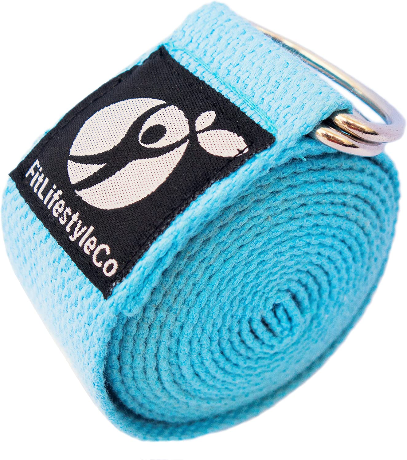 Yoga Strap Best for Stretching - 6 Colors Instructional Video - Durable Cotton with Metal D-Ring - by FitLifestyleCo