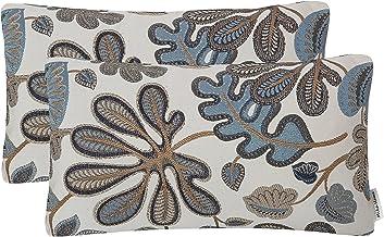 طقم أغطية وسائد Mika Home مكون من 2 غطاء وسادة مستطيلة بنمط أوراق شجر استوائية مقاس 30.48 × 50.8 سم، أزرق كريمي