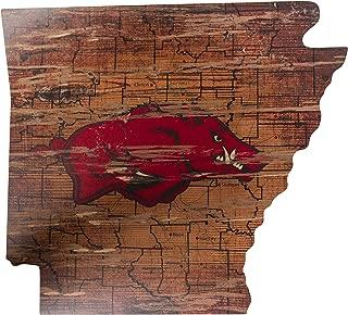 Fan Creations NCAA Arkansas Razorbacks 21 x 23 State Cutout with Logo Wood Sign