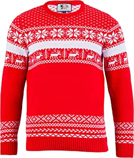 British Christmas Jumpers - The Nordic Red Mens Xmas Sweater - Made in Great Britain