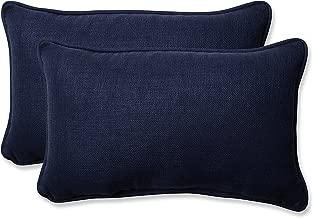 Pillow Perfect Outdoor / Indoor Rave Indigo Rectangular Throw pillow (Set of 2)
