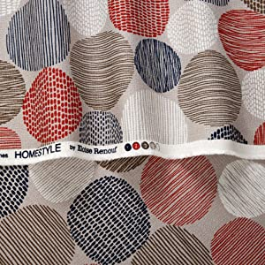 Cloud 9 Organic Homestyle Barkcloth Stepping Stones Fabric, Red, Fabric By The Yard