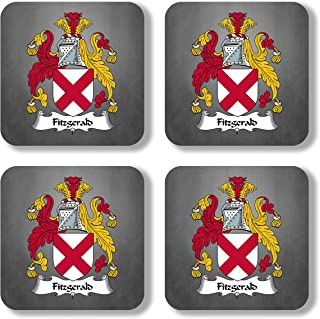 Fitzgerald Coat of Arms/Family Crest Coaster Set, by Carpe Diem Designs – Made in the U.S.A.