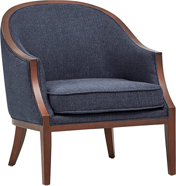 Stone Beam Ashbury Modern Exposed Wood Accent Chair 29 W Navy