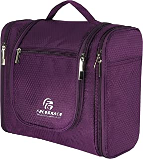 Premium Toiletry Bag By Freegrace - Large Travel Essentials Organizer - Durable Hanging Hook - For Men & Women - Perfect For Accessories, Cosmetics, Personal Items, Shampoo, Body Wash (Purple)