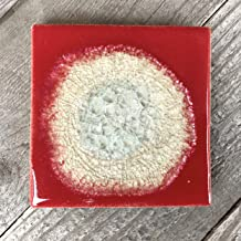 product image for Geode Crackle Coaster in Hot Tamale, Individual Coaster, Geode Coaster, Agate Coaster, Fused Glass Coaster, Crackle Glass Coaster, Dock 6 Pottery Coaster, Dock 6 Pottery, Kerry Brooks Pottery