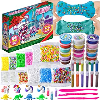 JOYIN 56 Pcs Slime Supplies DIY Slime Kit Making Set for Kids Girls Boys, Kids Art Craft with 18 Slime and 38 Accessories, Fruit Slices, Beads, Foam Balls, Cutting Tools, Soft Clay, Glitter Tubes