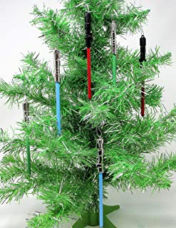 Star Wars Light Saber Themed Christmas Ornament Set Featuring Shatterproof Plastic Lightsaber Ornaments