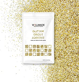 Glitter Grout Tile Additive 150g/5.3oz Glitter for Wall/Floor Tile Grout-DIY Home Wet Room Bathroom Kitchen Sparkle, Add/Mix with Epoxy Resin or Cement Based Grout (150g/5.3oz, Silver+Gold)