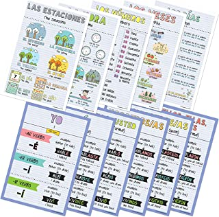 Spanish Verbs & Beginner Vocabulary Classroom Variety Posters, Set of 11, 12 x 18 inches (Set B)