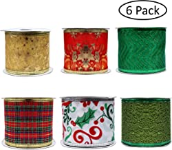 Christmas Ribbons (6 Pack) - 5.48m Assorted Plaid, Sparkling, Decorative, Wired, Sheer, Glitter Tulle, Organza Ribbons for Xmas Tree, Gift Wrapping, DIY Crafts, Bows, Party Decorations (6cm Wide)